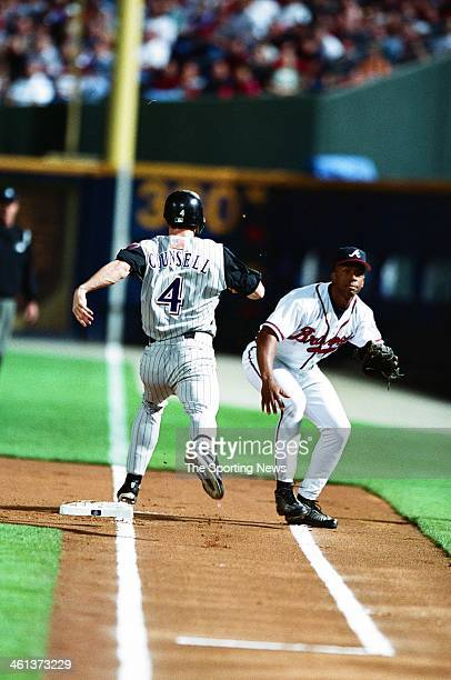 Craig Counsell of the Arizona Diamondbacks runs to first base during Game Four of the National League Championship Series against the Atlanta Braves...