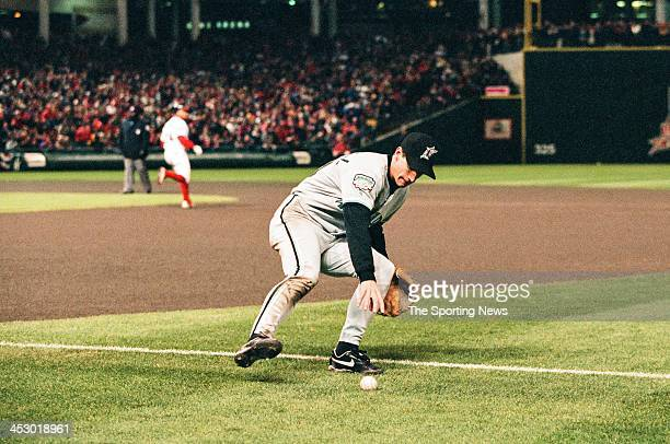 Craig Counsell of the Florida Marlins during Game Four of the World Series against the Cleveland Indians at Jacobs Field on October 22 1997 in...