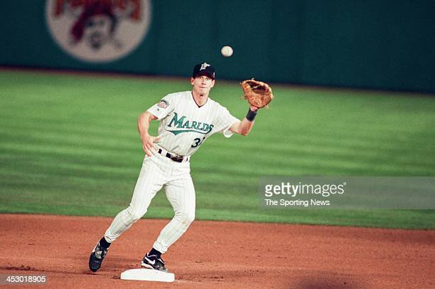 Craig Counsell of the Florida Marlins during Game Two of the World Series against the Cleveland Indians at Pro Player Stadium on October 19 1997 in...