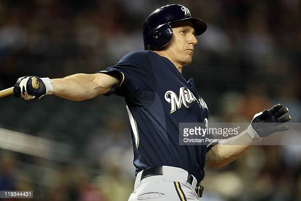 Craig Counsell of the Milwaukee Brewers bats against the Arizona Diamondbacks during the Major League Baseball game at Chase Field on July 18 2011 in...