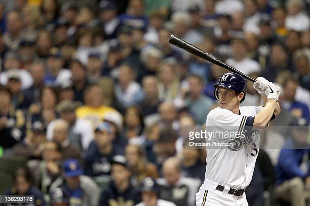 Craig Counsell of the Milwaukee Brewers bats against the St Louis Cardinals during Game Six of the National League Championship Series at Miller Park...