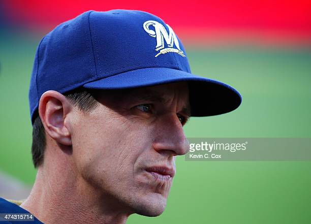 Craig Counsell of the Milwaukee Brewers looks on during the first inning against the Atlanta Braves at Turner Field on May 21 2015 in Atlanta Georgia
