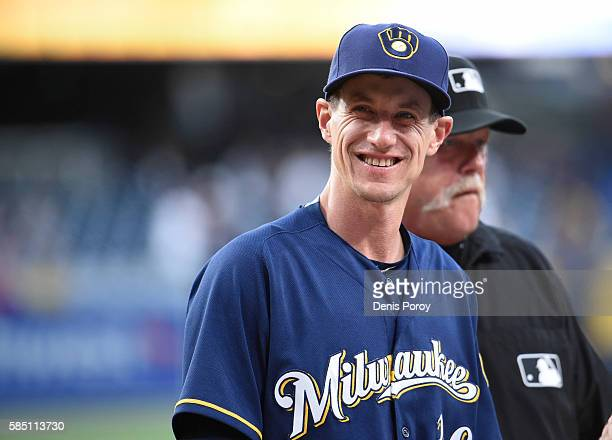 Craig Counsell of the Milwaukee Brewers looks out into the stands before a baseball game against the San Diego Padres at PETCO Park on August 1 2016...
