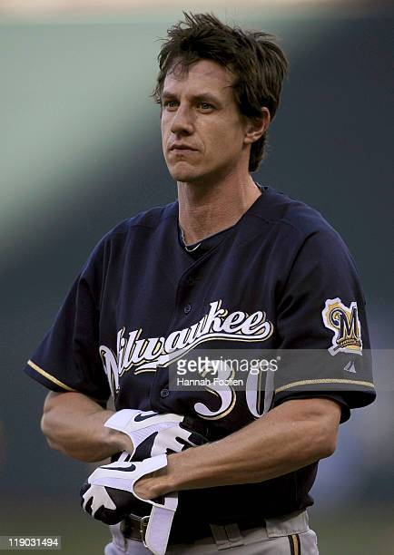 Craig Counsell of the Milwaukee Brewers reacts to striking out against the Minnesota Twins on July 2 2011 at Target Field in Minneapolis Minnesota