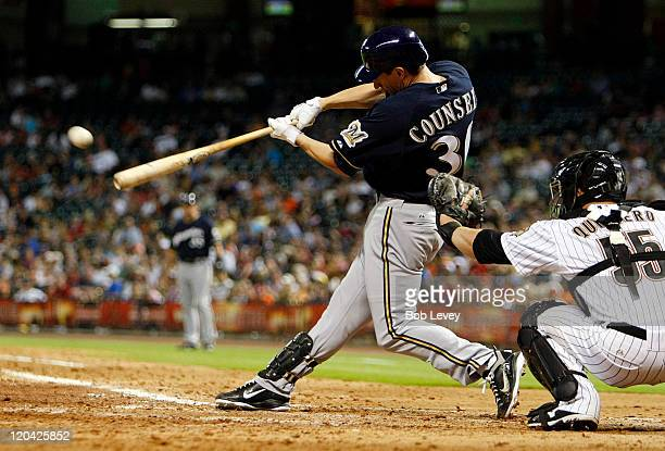 Craig Counsell of the Milwaukee Brewers singles on a line drive to right field in the ninth inning against the Houston Astros at Minute Maid Park on...