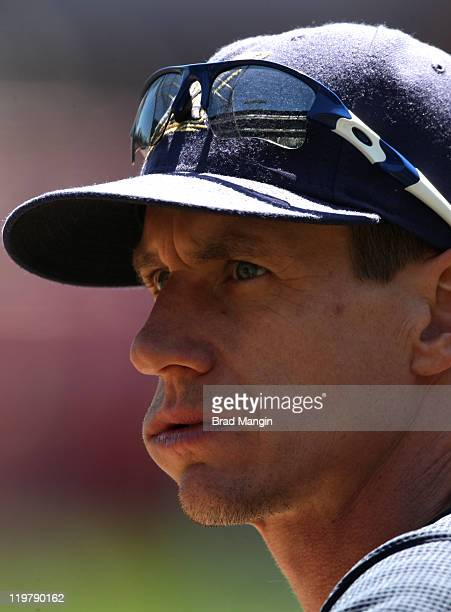 Craig Counsell of the Milwaukee Brewers takes batting practice before the game against the San Francisco Giants at ATT Park on July 24 2011 in San...