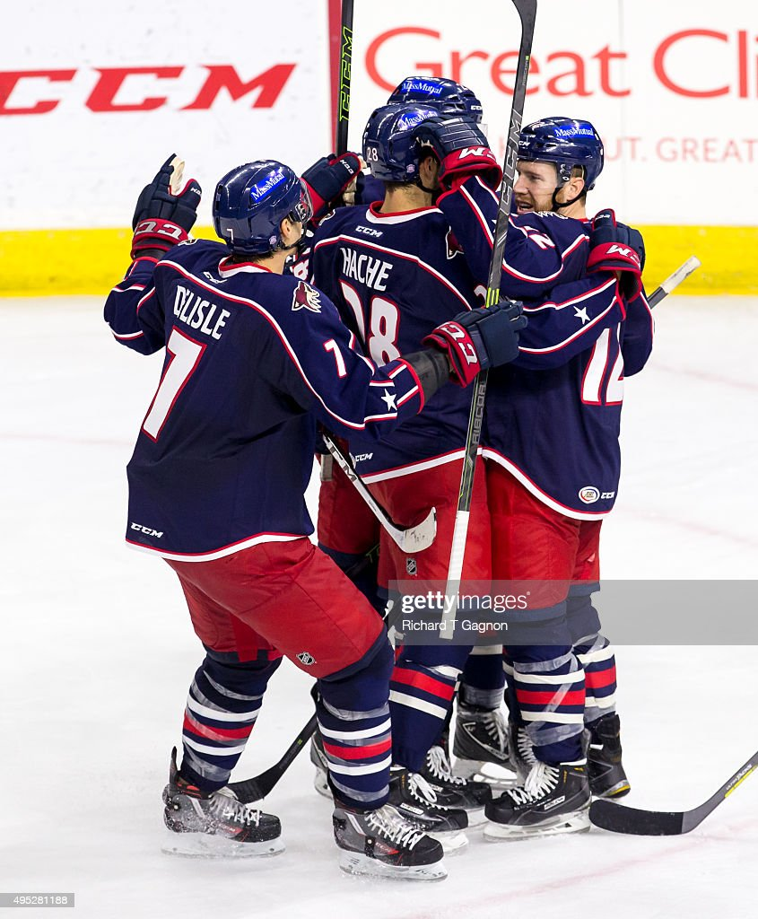 Craig Cunningham #14 of the Springfield Falcons celebrates his goal with teammates Greg Carey #12, Dustin Jeffrey #21, Steven Delisle and Justin Hache #28 during an American Hockey League game against the Providence Bruins at the Dunkin' Donuts Center on November 1, 2015 in Providence, Rhode Island. The Falcons won 5-2.