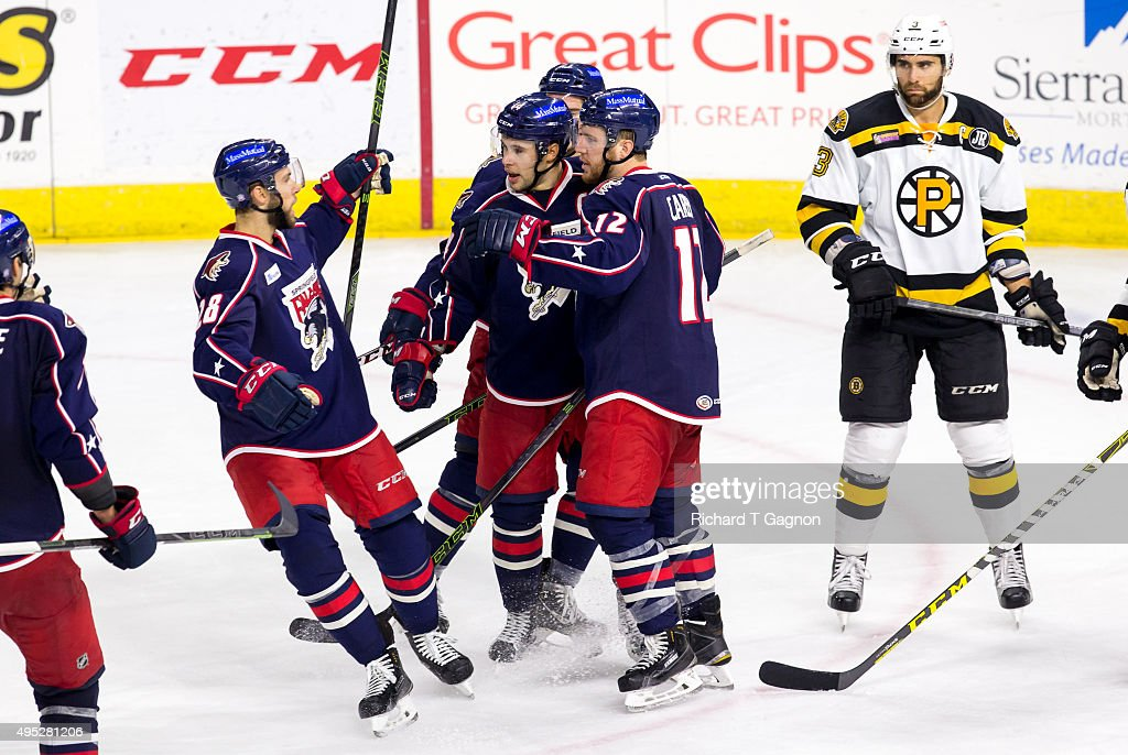 Craig Cunningham #14 of the Springfield Falcons celebrates his goal with teammates Greg Carey #12, Dustin Jeffrey #21 and Justin Hache #28 during an American Hockey League game against the Providence Bruins at the Dunkin' Donuts Center on November 1, 2015 in Providence, Rhode Island. The Falcons won 5-2.