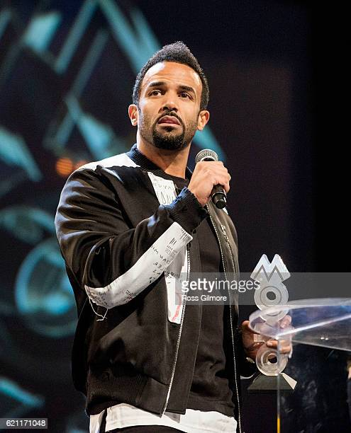 Craig David picks up his MOBO award for best male act in 2016 at MOBO Awards show at The SSE Hydro on November 4 2016 in Glasgow Scotland