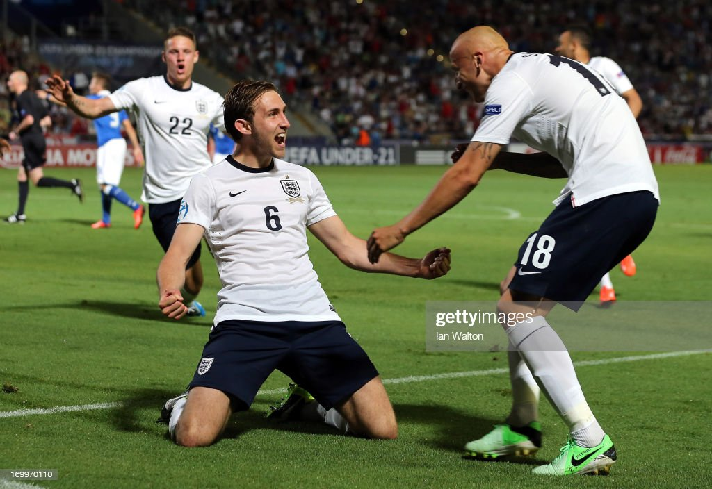 Craig Dawson of Englang celebrates a disallowed goal during the UEFA European U21 Championships, Group A match between England and Italy at the Bloomfield Stadium on June 5, 2013 in Tel Aviv, Israel.