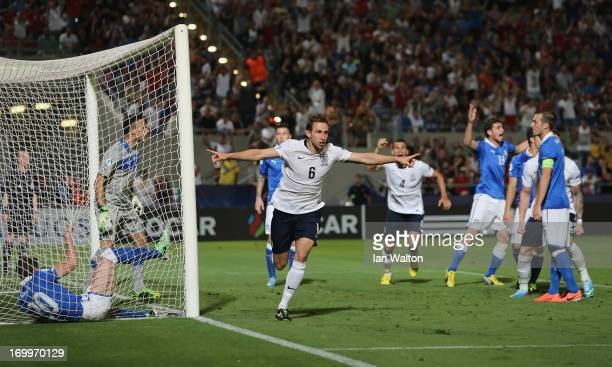 Craig Dawson of Englang celebrates a disallowed goal during the UEFA European U21 Championships Group A match between England and Italy at the...