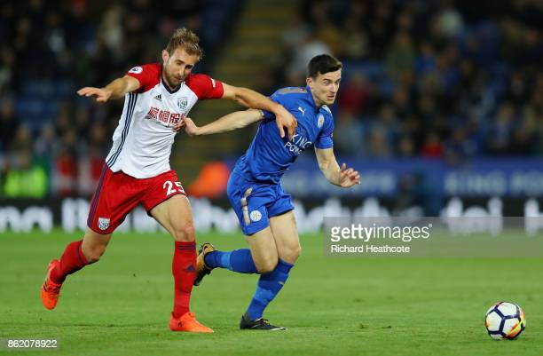 Craig Dawson of West Bromwich Albion and Ben Chilwell of Leicester City in action during the Premier League match between Leicester City and West...