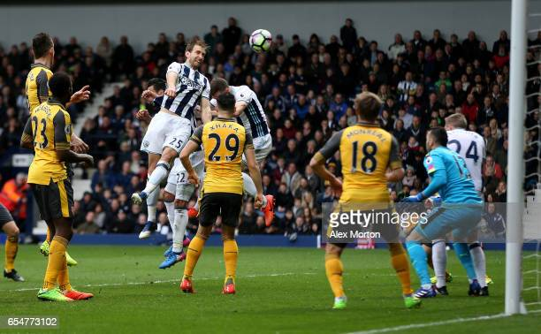 Craig Dawson of West Bromwich Albion scores his sides third goal during the Premier League match between West Bromwich Albion and Arsenal at The...