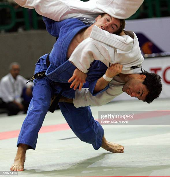 Craig Fallon of Great Britain fights with Gal Yekutiel of Israel during their up to and including 60kg men class at the World Judo Championships in...
