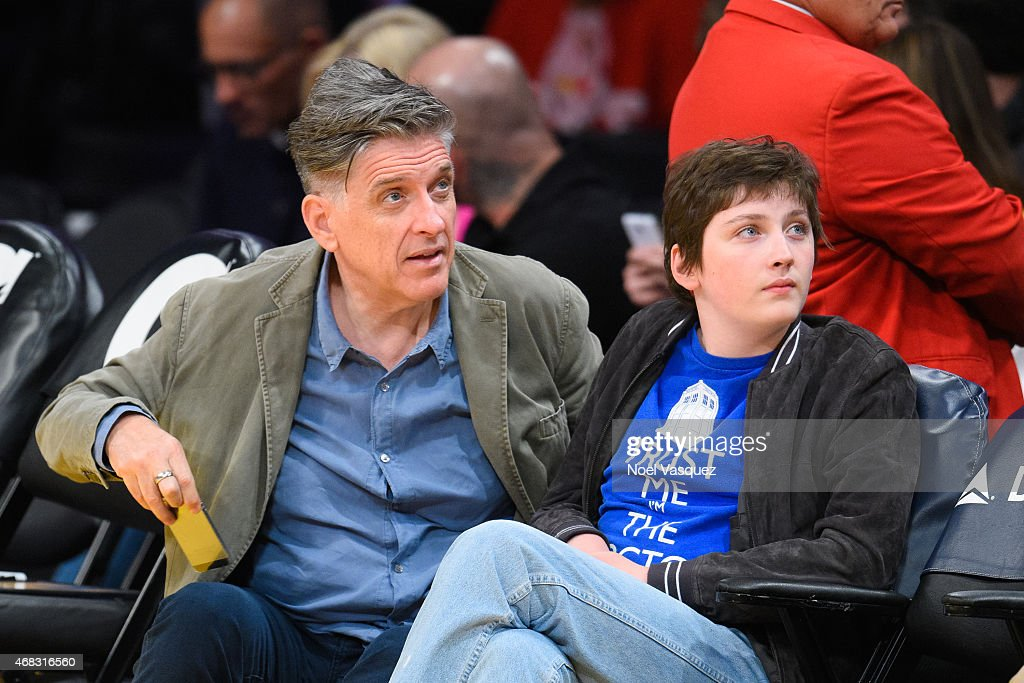 Craig Ferguson attends a basketball game between the New Orleans Pelicans and the Los Angeles Lakers at Staples Center on April 1 2015 in Los Angeles...