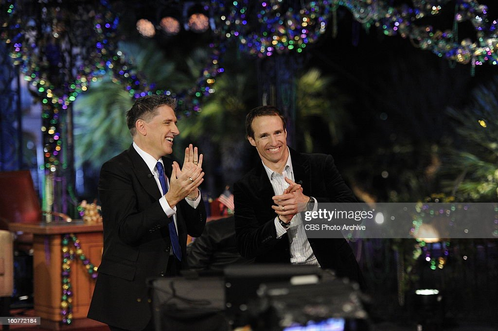 Craig Ferguson welcomes New Orleans Saints QB Drew Brees while filming THE CRAIG FERGUSON SUPER BOWL SPECIAL in New Orleans which airs Sunday, Feb. 3 (approximately 11:35 PM - 12:37 AM in most markets, following local news) on the CBS Television Network as part of the Network's SUPER BOWL XLVII lineup.