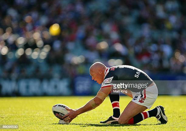 Craig Fitzgibbon of the Roosters prepares for a conversion attempt during the round 19 NRL match between the Sydney Roosters and the Warriors at the...