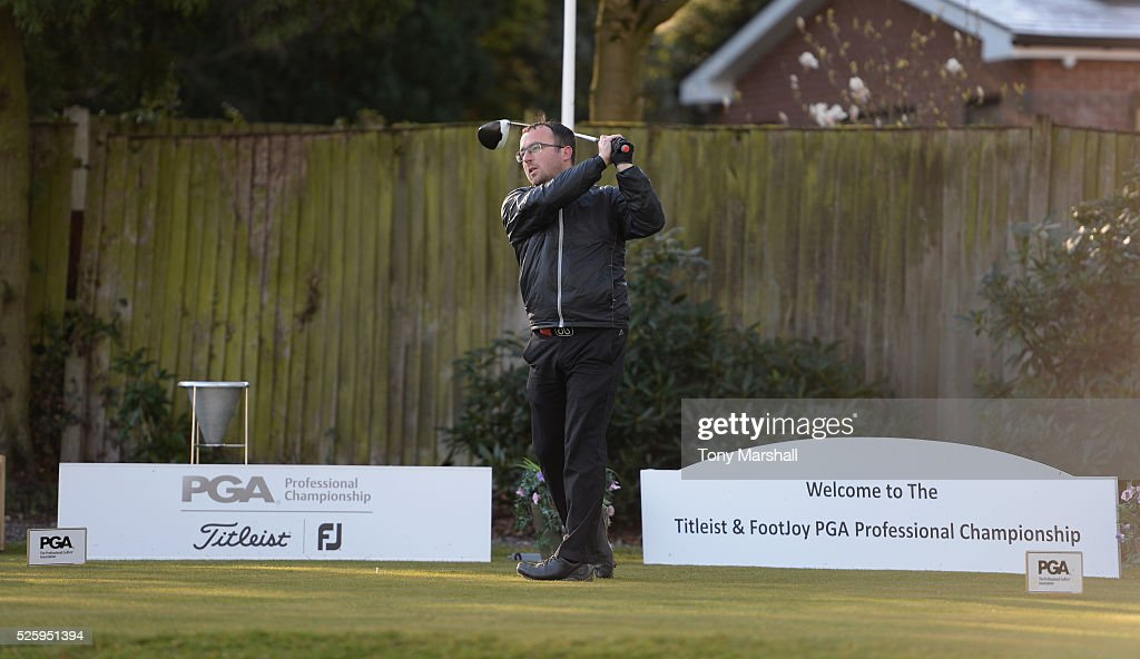 Craig Fletcher of The Golf Academy plays his first shot on the 1st tee during the PGA Professional Championship - Midland Qualifier at Little Aston Golf Club on April 29, 2016 in Sutton Coldfield, England.
