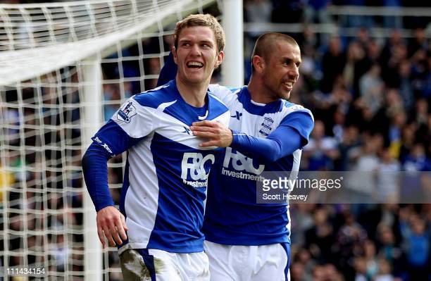 Craig Gardner of Birmingham celebrates with Kevin Phillips after scoring their second goal during the Barclays Premier League match between...