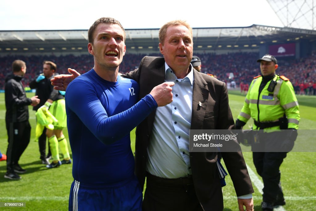 Craig Gardner of Birmingham City and Harry Redknapp, Manager of Birmingham City celebrate after their team surive relegation after the Sky Bet Championship match between Bristol City and Birmingham City at Ashton Gate on May 7, 2017 in Bristol, England.