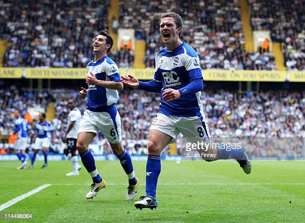 Craig Gardner of Birmingham City celebrates his goal during the Barclays Premier League match between Tottenham Hotspur and Birmingham City at White...