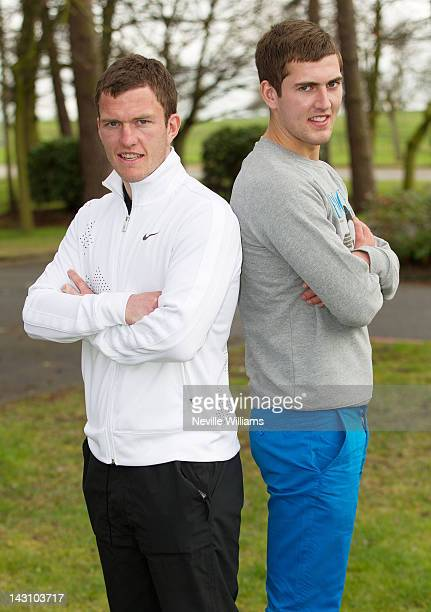 Craig Gardner of Sunderland poses with his brother Gary Gardner of Aston Villa during a photo call at the Belfry golf course ahead of this weekend's...