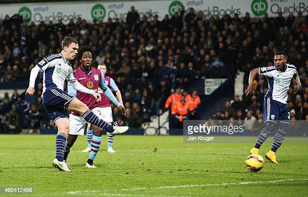 Craig Gardner of West Brom scores his goal during the Barclays Premier League match between West Bromwich Albion and Aston Villa at The Hawthorns on...