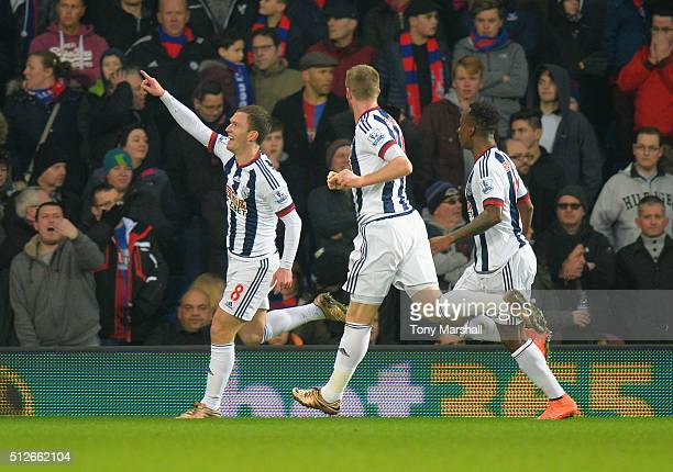 Craig Gardner of West Bromwich Albion celebrates scoring his team's first goal during the Barclays Premier League match between West Bromwich Albion...