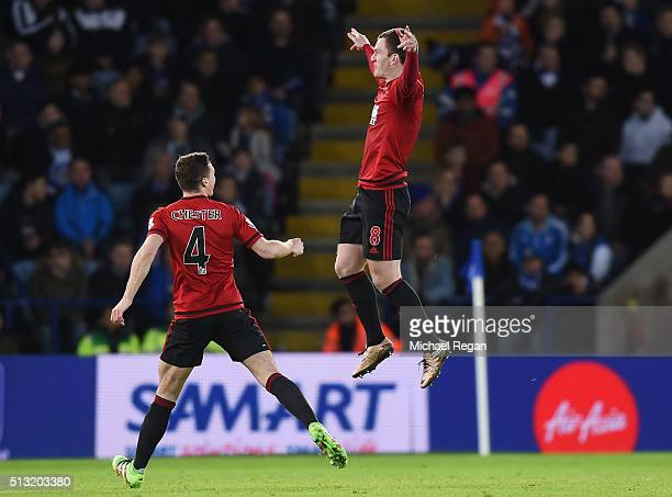 Craig Gardner of West Bromwich Albion celebrates scoring his team's second goal with his team mate James Chester during the Barclays Premier League...