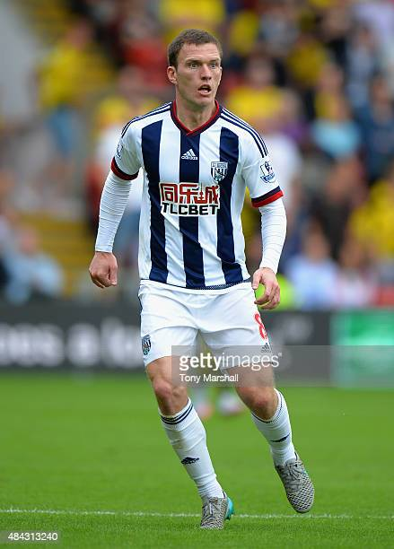 Craig Gardner of West Bromwich Albion during the Barclays Premier League match between Watford and West Bromwich Albion at Vicarage Road on August 15...