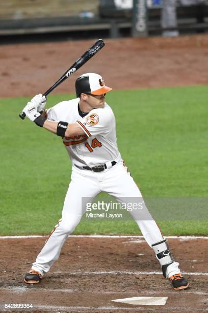 Craig Gentry of the Baltimore Orioles prepares for a pitch during a baseball game against the Seattle Mariners at Oriole Park at Camden Yards on...