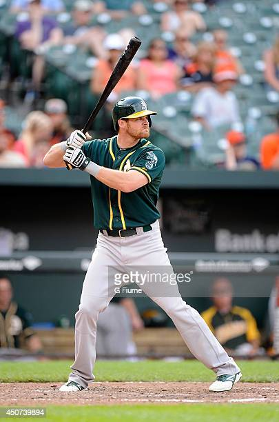 Craig Gentry of the Oakland Athletics bats against the Baltimore Orioles at Oriole Park at Camden Yards on June 8 2014 in Baltimore Maryland