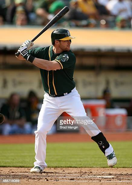 Craig Gentry of the Oakland Athletics bats against the Seattle Mariners in game two of a doubleheader at Oco Coliseum on Wednesday May 7 2014 in...