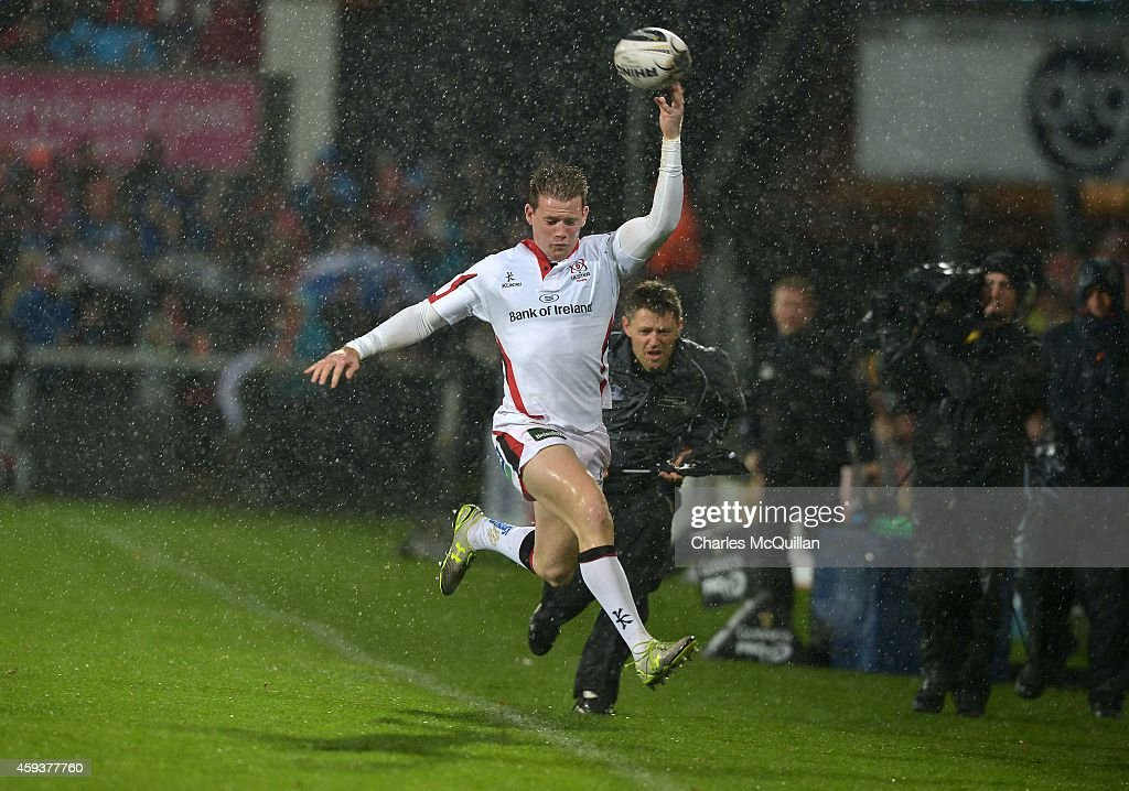 Craig Gilroy of Ulster attempts to keep the ball in play during the Guinness PRO12 match between Ulster and Ospreys at Kingspan Stadium on November...