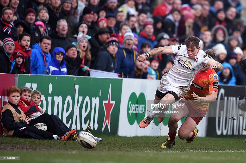 Craig Gilroy of Ulster desperately attempts to keep the ball in play during the Guinness PRO12 game between Ulster and Scarlets at Kingspan Stadium...