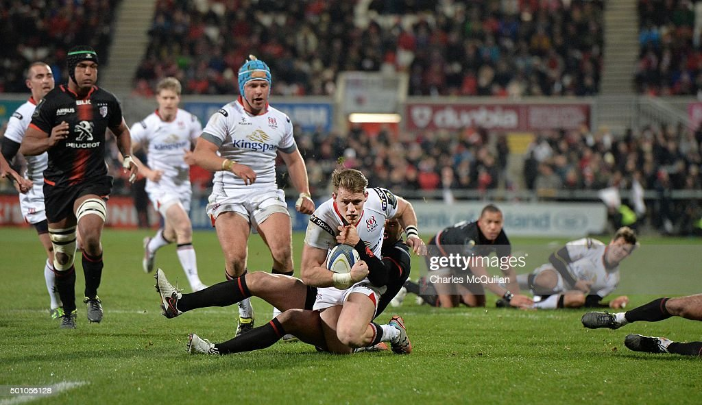 Craig Gilroy of Ulster is tackled just short of the try line during the European Champions Cup Pool 1 rugby game at Kingspan Stadium on December 11...