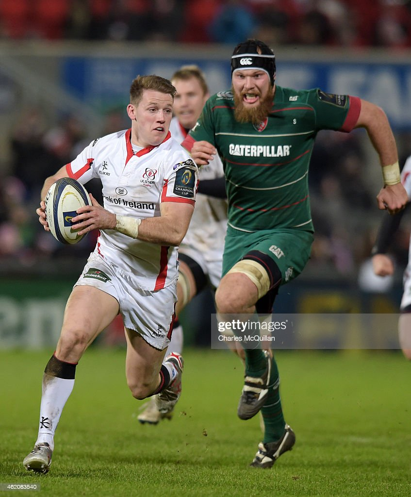 Craig Gilroy of Ulster runs at the opposing defence during this afternoons European Rugby Champions Cup Pool 3 match at the Kingspan stadium on...