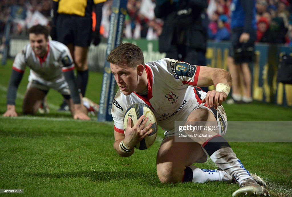 Craig Gilroy of Ulster scores a try during this afternoons European Rugby Champions Cup Pool 3 match at the Kingspan stadium on January 24 2015 in...