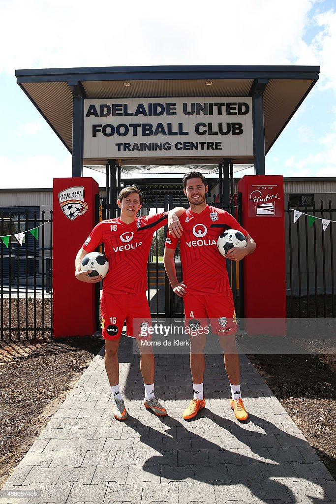 Craig Goodwin and Dylan McGowan of Adelaide United pose for a photograph during the official opening of Adelaide United's new training facility at...