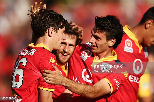 Craig Goodwin and Mate Dugandzic of Adelaide United celebrate a goal by Dugandzic during the round 15 ALeague match between Adelaide United and the...