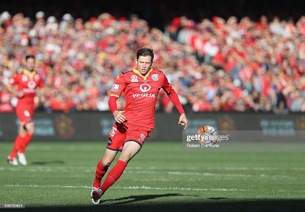 Craig Goodwin of Adelaide United chases the ball during the 2015/16 A-League Grand Final match between Adelaide United and the Western Sydney Wanderers at Adelaide Oval on May 1, 2016 in Adelaide, Australia.