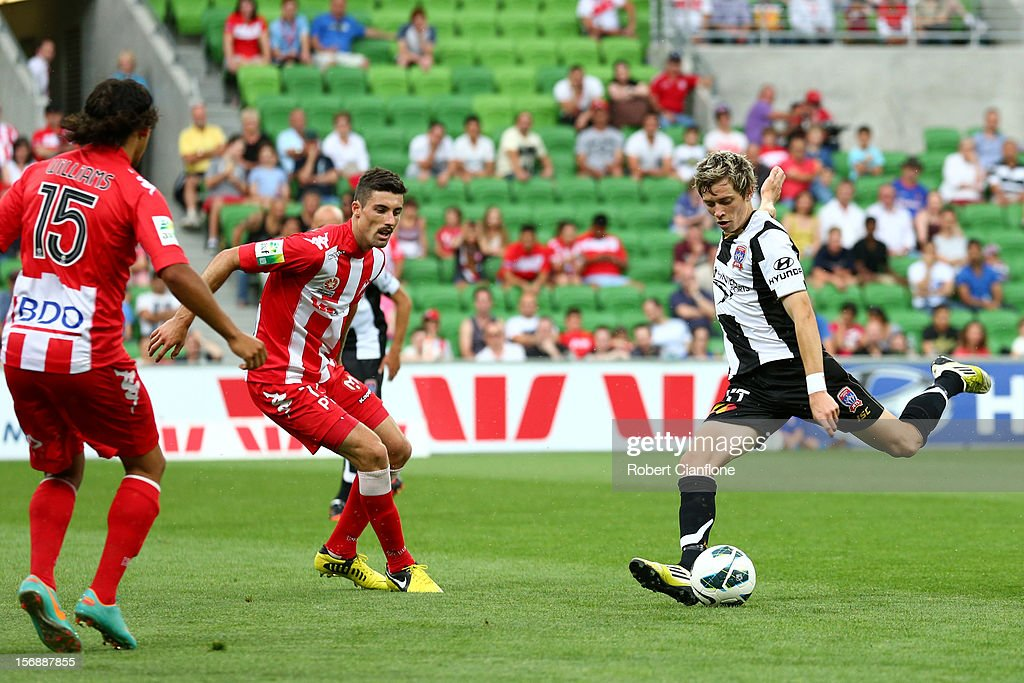 Craig Goodwin of the Jets attemptts a shot on goal during the round eight A-League match between the Melbourne Heart and the Newcastle Jets at AAMI Park on November 24, 2012 in Melbourne, Australia.