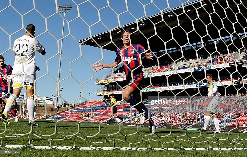 Craig Goodwin of the Jets celebrates a goal during the round 18 ALeague match between the Newcastle Jets and Wellington Phoenix at Hunter Stadium on...