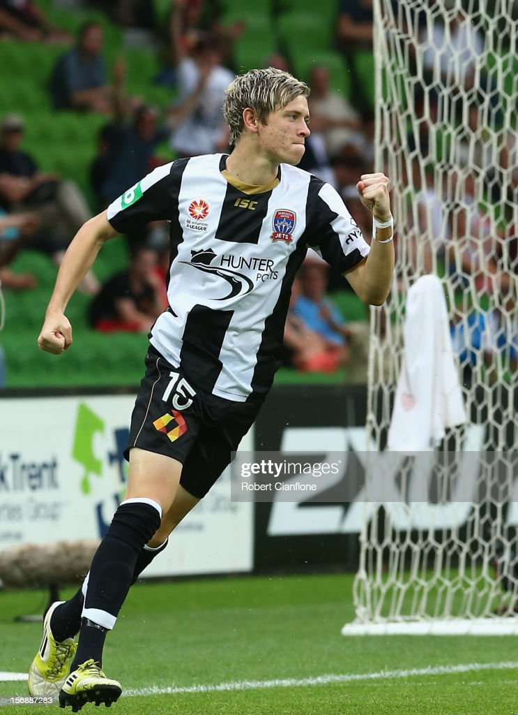 Craig Goodwin of the Jets celebrates his goal during the round eight A-League match between the Melbourne Heart and the Newcastle Jets at AAMI Park on November 24, 2012 in Melbourne, Australia.