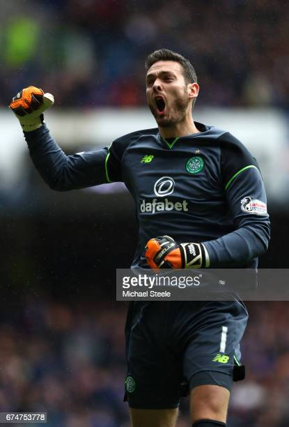 Craig Gordon of Celtic celebrates during the Ladbrokes Scottish Premiership match between Rangers and Celtic at Ibrox Stadium on April 29 2017 in...