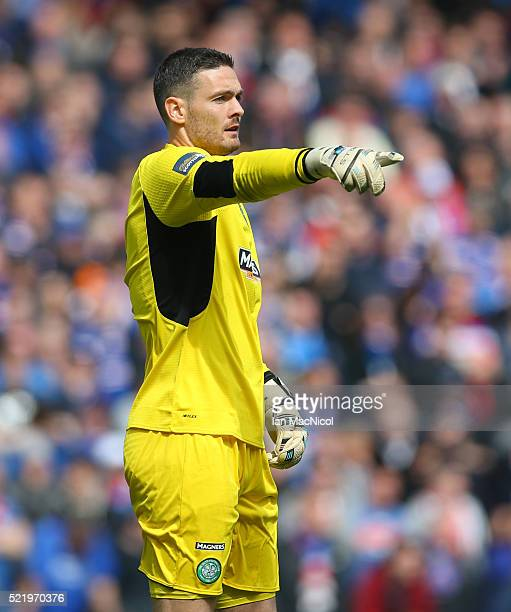 Craig Gordon of Celtic gestures during the Scottish Cup Semi Final between Rangers and Celtic at Hampden Park on April 17 2016 in Glasgow Scotland