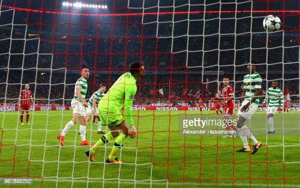 Craig Gordon of Celtic looks on as Joshua Kimmich of Bayern Muenchen scores his sides second goal during the UEFA Champions League group B match...