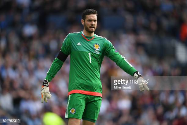 Craig Gordon of Scotland in action during the FIFA 2018 World Cup Qualifier between Scotland and England at Hampden Park National Stadium on June 10...