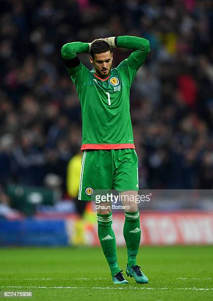 Craig Gordon of Scotland reacts during the FIFA 2018 World Cup qualifying match between England and Scotland at Wembley Stadium on November 11 2016...