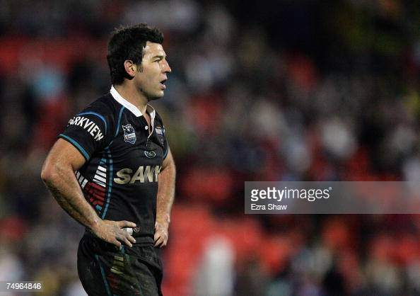 Craig Gower of the Panthers in the final minute of their loss to the Broncos during the round 16 NRL match between the Penrith Panthers and the...
